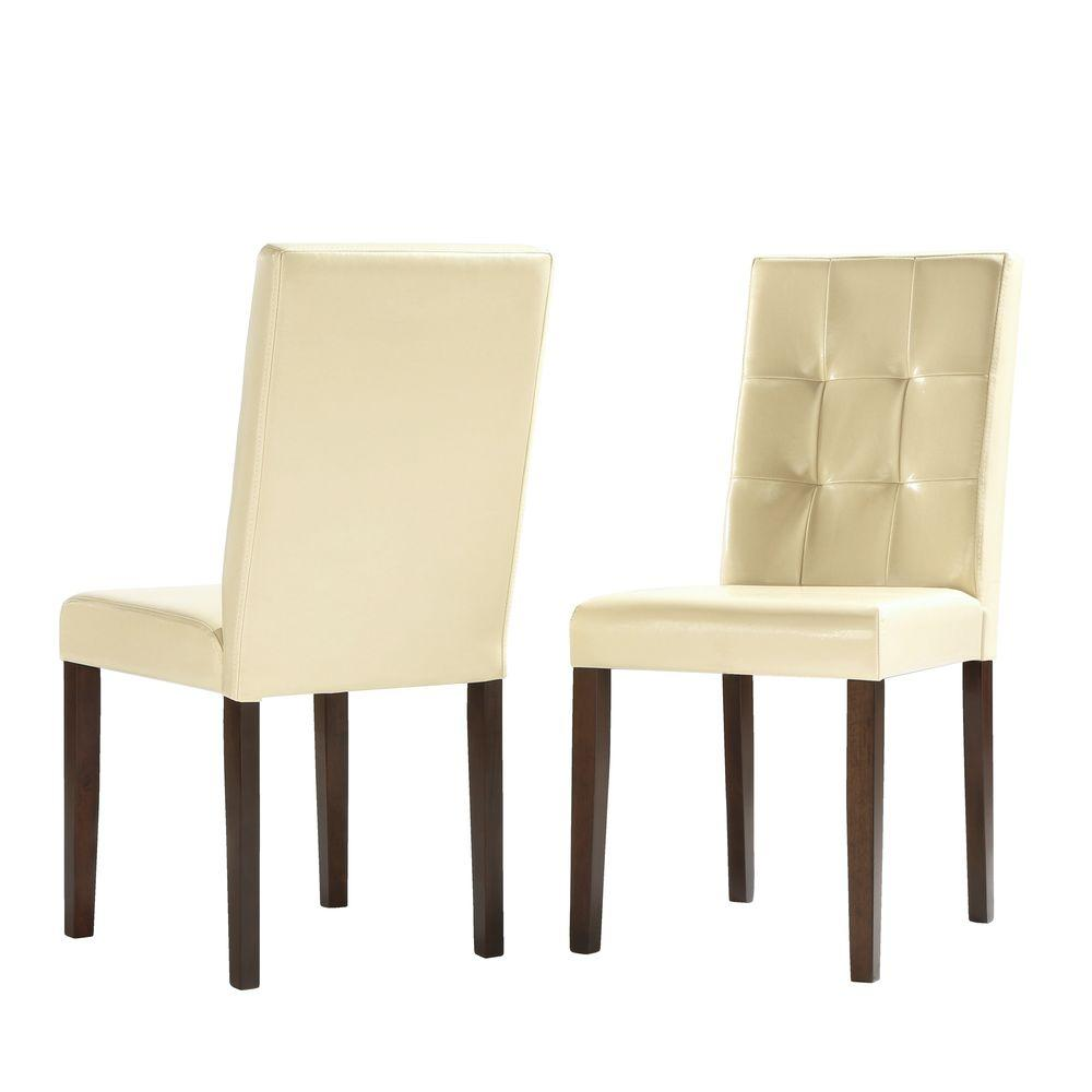 HomeSullivan Braemar Faux Leather Dining Chair in Ivory