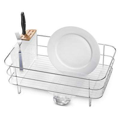 Slim Dish Rack with Bamboo Knife Block in Rust-Proof Stainless Steel