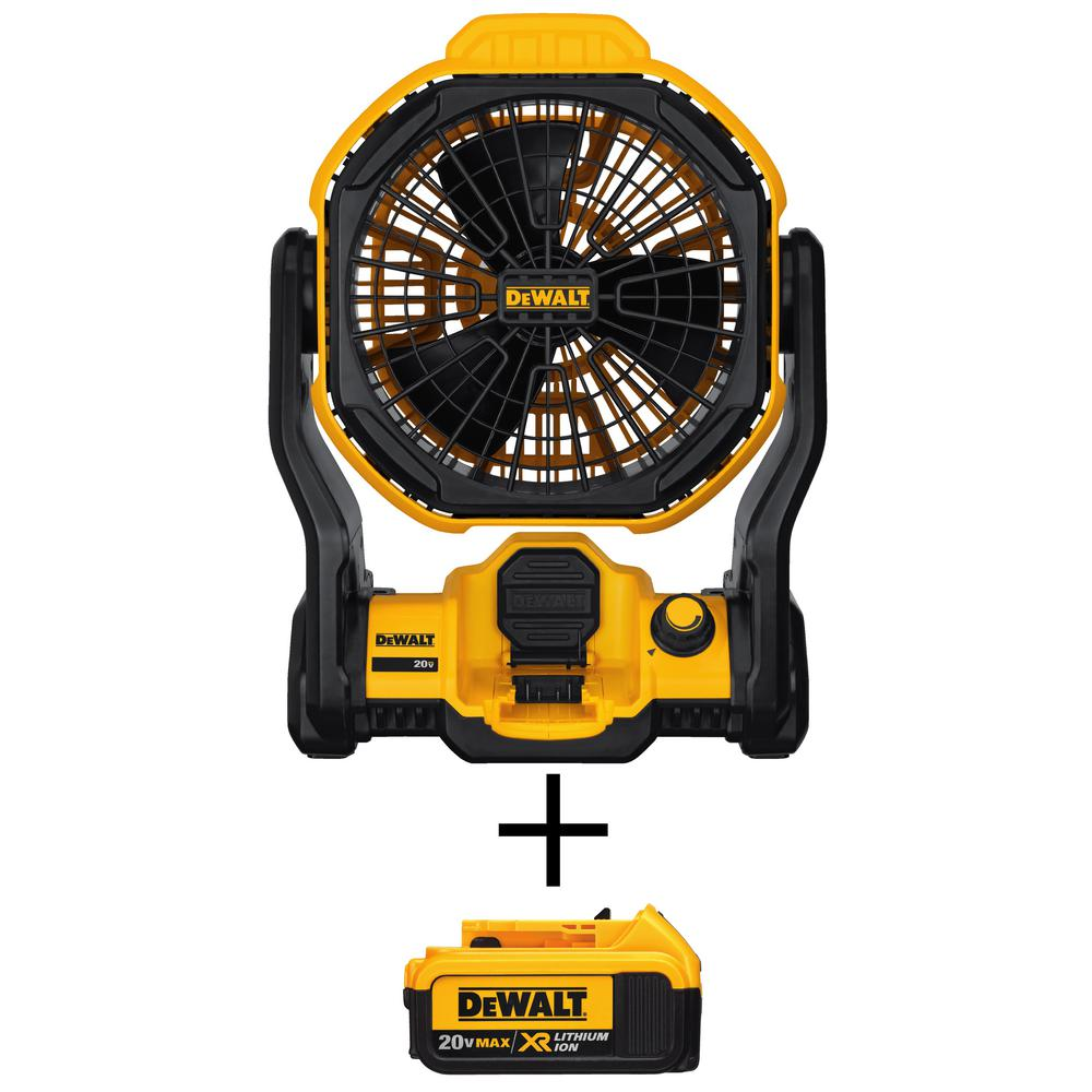 DEWALT 20-Volt MAX Lithium-Ion Cordless and Corded Jobsite Fan (Tool-Only) with Free 20-Volt MAX XR Li-Ion 4.0Ah Battery Pack