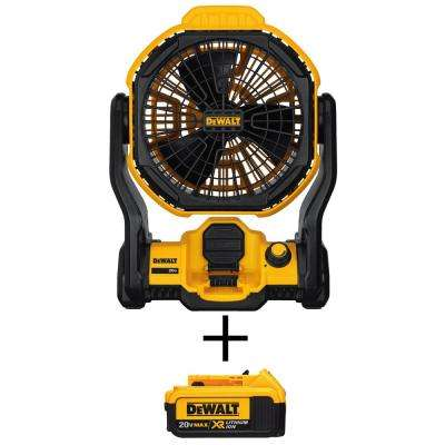 20-Volt MAX Lithium-Ion Cordless and Corded Jobsite Fan (Tool-Only) with Free 20-Volt MAX XR Li-Ion 4.0Ah Battery Pack
