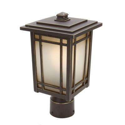 Port Oxford 1-Light Oil-Rubbed Chestnut Outdoor Post Mount Lantern