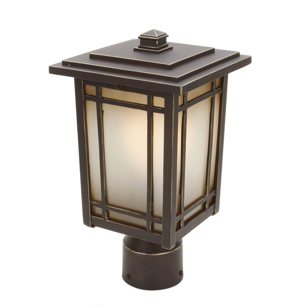 Post lighting outdoor lighting the home depot port oxford 1 light oil rubbed chestnut outdoor post mount lantern aloadofball