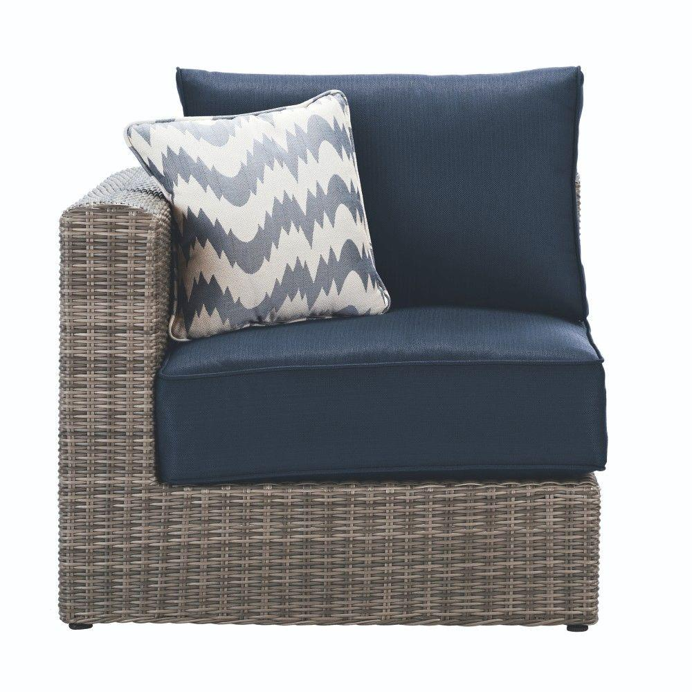 Naples Grey All-Weather Wicker Left/Right Arm Outdoor Sectional Chair with Navy