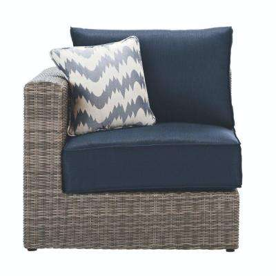 Naples Grey All-Weather Wicker Left/Right Arm Outdoor Sectional Chair with Navy Cushions