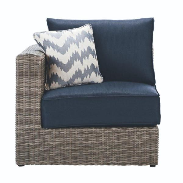 Home Decorators Collection Naples Grey All-Weather Wicker Left/Right Arm Outdoor Sectional Chair with Navy Cushions