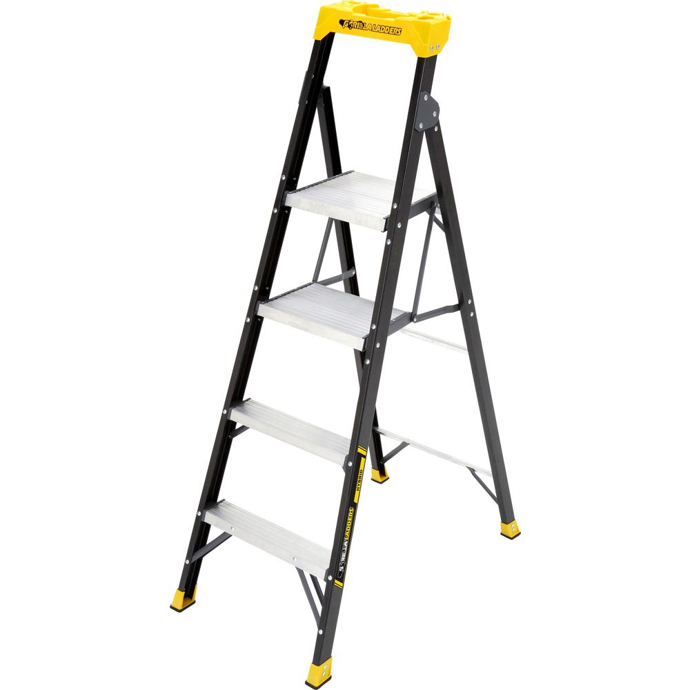 Gorilla Ladders 5.5 ft. Fiberglass Hybrid Ladder with 250 lbs. Load Capacity Type I Duty Rating (Comparable to 6 ft. Step Ladder)
