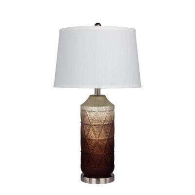 27.5 in. Table Lamp in White Mercury Glass and Frosted Mist Color Tint in Brown