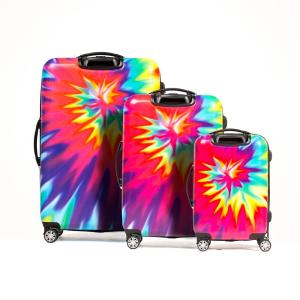 9ef61dd95ef5 Tie Dye Nested 3-Piece 28 in., 24 in. and 20 in. Pink ABS Hard Cases  Luggage Set, Spinner Rolling Luggage Suitcases