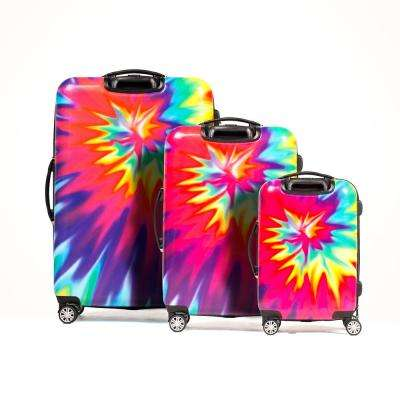 Tie Dye Nested 3-Piece 28 in., 24 in. and 20 in. Pink ABS Hard Cases Luggage Set, Spinner Rolling Luggage Suitcases