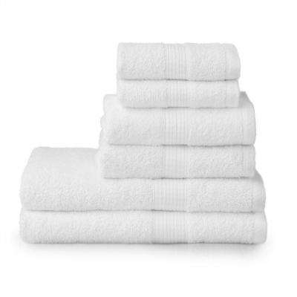 6-Piece 100% Cotton Towel Set in White