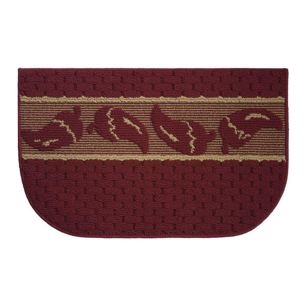 Salsa Chili Textured Loop Brick/Linen 18 in. x 30 in. Kitchen Rug