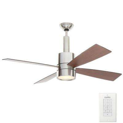 Bullet 54 in. Indoor Brushed Nickel Ceiling Fan with Universal Wall Control