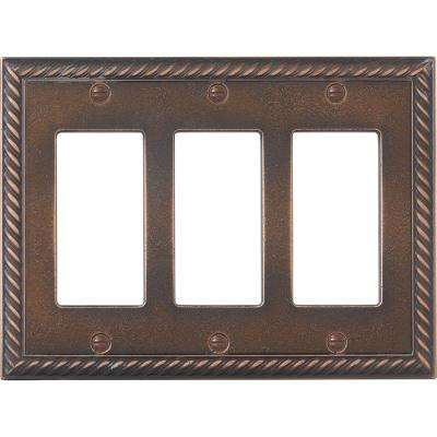 3-Gang Decor Wall Plate, Oil Rubbed Bronze