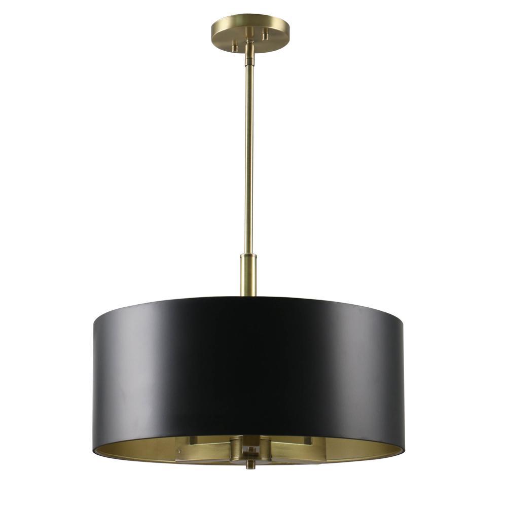 Captivating 3 Light Black And Gold Pendant