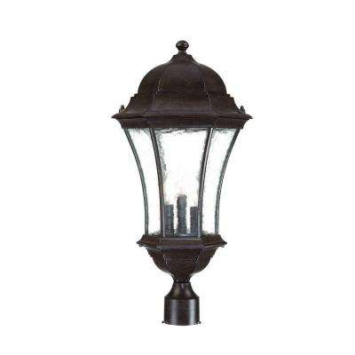 Waverly 3-Light Black Coral Outdoor Post-Mount Light Fixture
