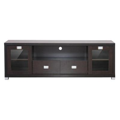 Gosford 69 in. Dark Brown Wood TV Stand with 2 Drawer Fits TVs Up to 35 in. with Storage Doors