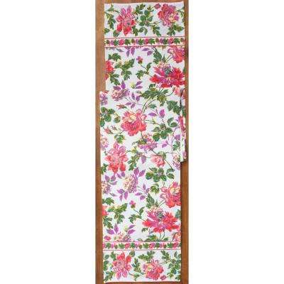 Off White Greta's Garden Floral 13 in. x 72 in. Table Runner