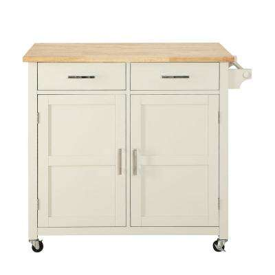 Macie Polar White Small Kitchen Cart