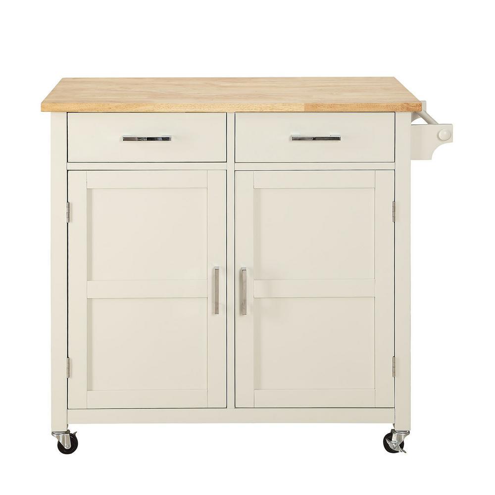 USL Macie Polar White Small Kitchen Cart
