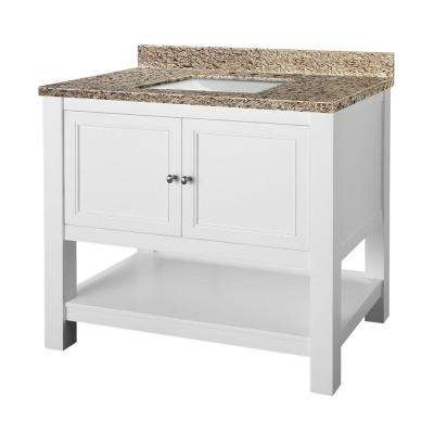 Gazette 37 in. W x 22 in. D Vanity in White with Granite Vanity Top in Ornamental Giallo and White Sink