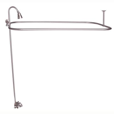 Metal Lever 2-Handle Claw Foot Tub Faucet with Riser, Showerhead and 48 in. Rectangular Shower Unit in Brushed Nickel