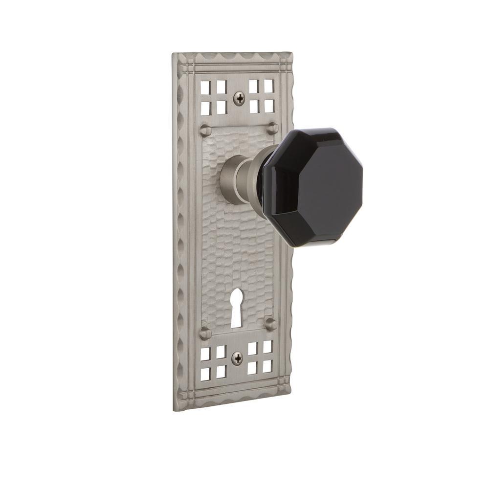 Craftsman Plate with Keyhole 2-3/4 in. Backset Satin Nickel Passage Waldorf Black Door Knob
