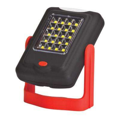 LED Integrated Red and Black 2-in-1 Mini Work Light and Flashlight