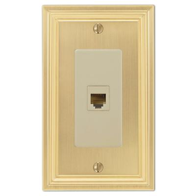 Hallcrest 1 Gang Phone Metal Wall Plate - Satin Brass