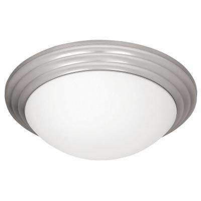 Strata 1-Light Brushed Steel Flushmount with Opal Glass Shade
