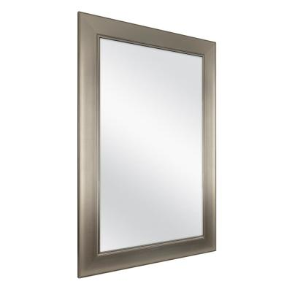 24 in. W x 35 in. H Framed Rectangular Anti-Fog Bathroom Vanity Mirror in Modern Nickel