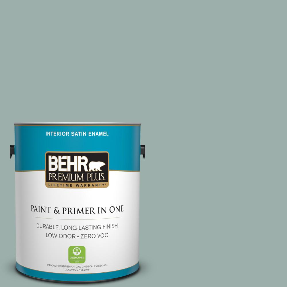 1-gal. #490F-4 Gray Morning Zero VOC Satin Enamel Interior Paint