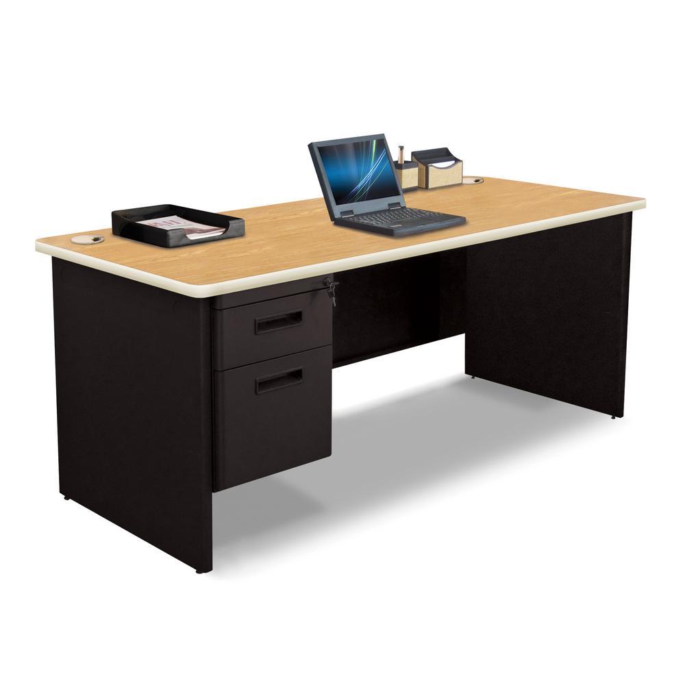 72 in. W x 30 in. D Oak Laminate and Black  Single Pedestal Desk