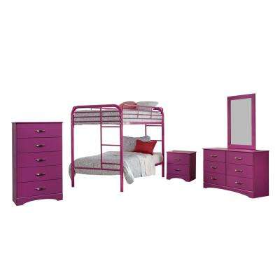 Raspberry Collection 171K5T 5-Piece Raspberry Twin Bedroom Set