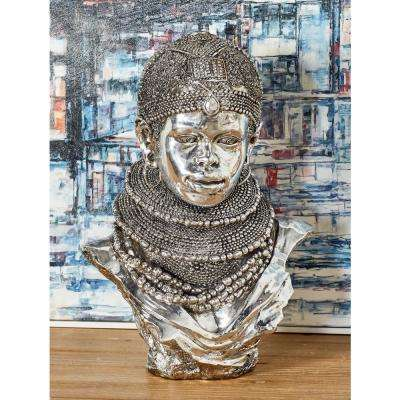 African Lady with Multiple Beaded Necklaces and Crown Polystone Bust