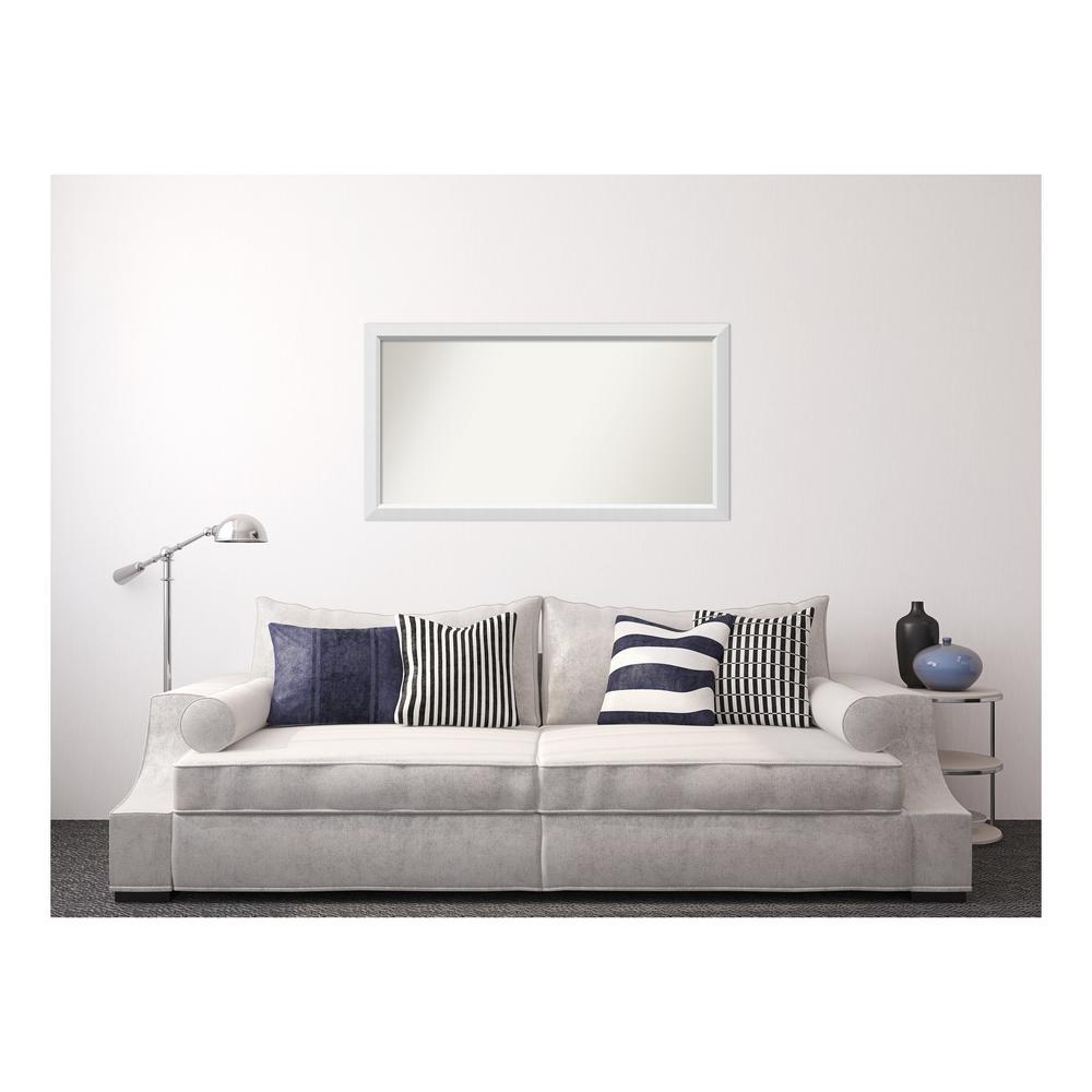 Medium Rectangle White Modern Mirror (28 in. H x 52 in. W)