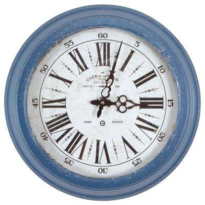 16 in. Circular Iron Wall Clock in Distressed Blue Frame