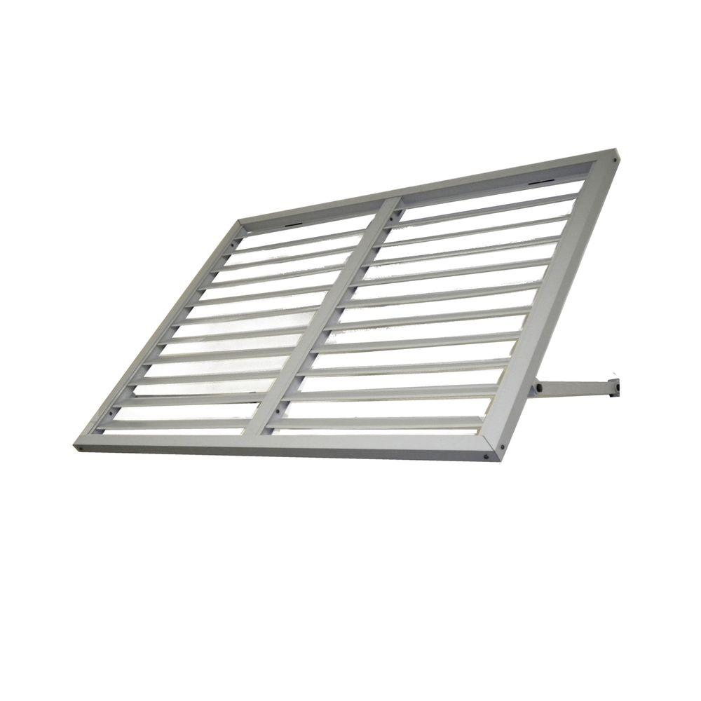 Beauty-Mark Awntech's 5 ft. Bahama Metal Shutter Awnings (68 in. W x 24 in. H x 24 in. D) in Dove Gray