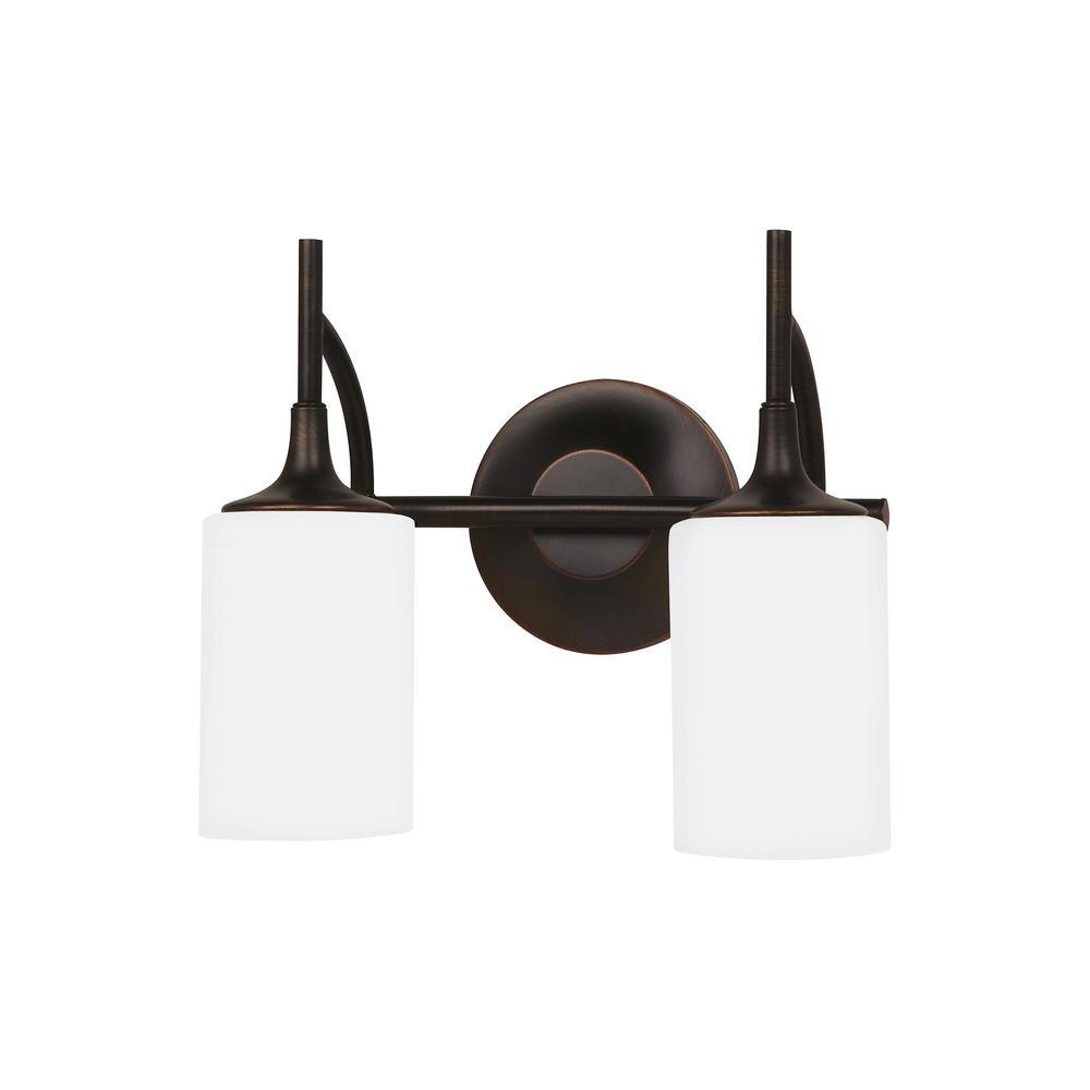 Stirling 2-Light Burnt Sienna Bath Light with LED Bulbs