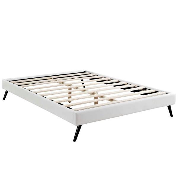 MODWAY Loryn White Queen Bed Frame with Round Splayed Legs MOD-5890-WHI