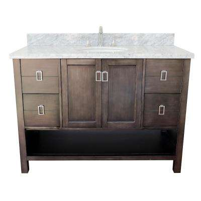 Monterey 49 in. W x 22 in. D Bath Vanity in Brown with Marble Vanity Top in White with White Oval Basin