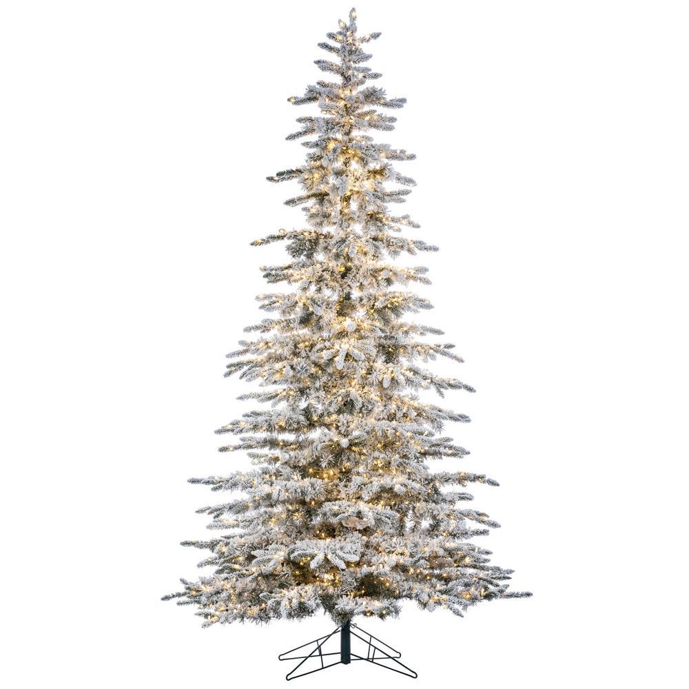 8 Ft Flocked Christmas Tree: Sterling 9 Ft. H Flocked Mountain Pine-5882--90CMLEDML