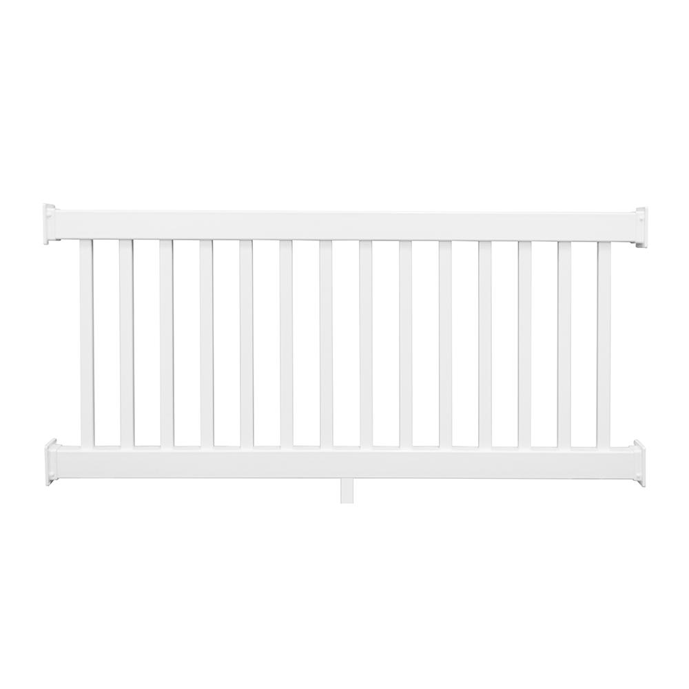 Naples 36 in. x 96 in. White Vinyl Straight Railing Kit
