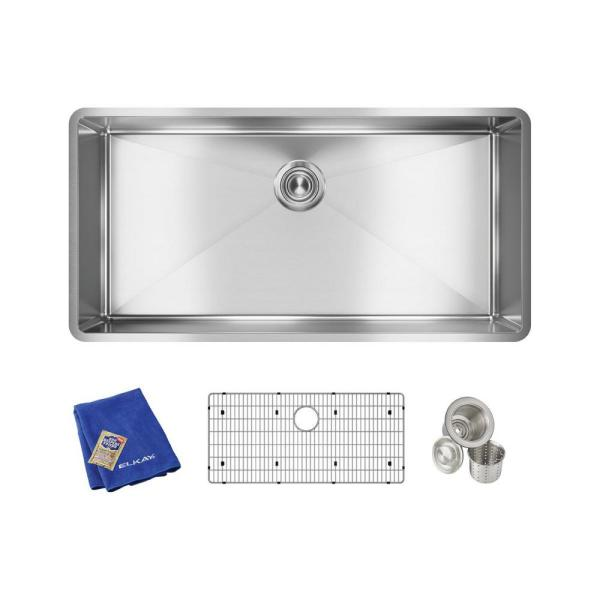 Elkay Crosstown Undermount Stainless Steel 37 in. Single Bowl Kitchen Sink with Bottom Grid and Drain