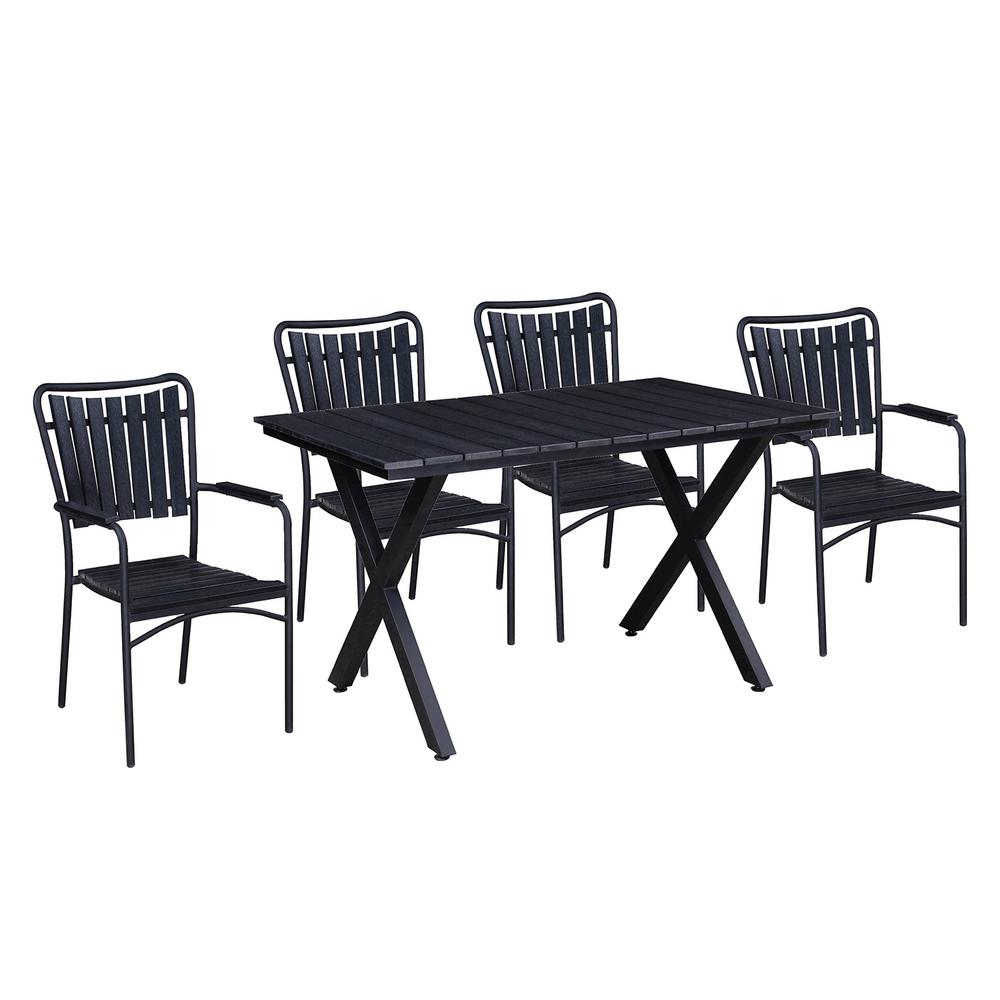 Modern Contemporary 5-Piece Black Metal Rectangular Outdoor Dining Set with