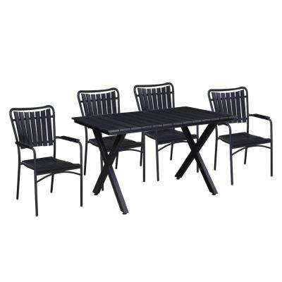 Modern Contemporary 5-Piece Black Metal Rectangular Outdoor Dining Set with Stackable Chairs