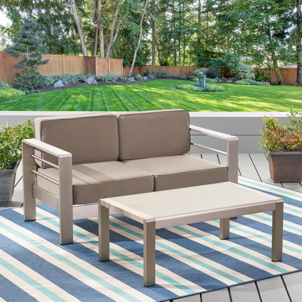Cape Coral Silver 2-Piece Aluminum Patio Conversation Set with Khaki Cushions