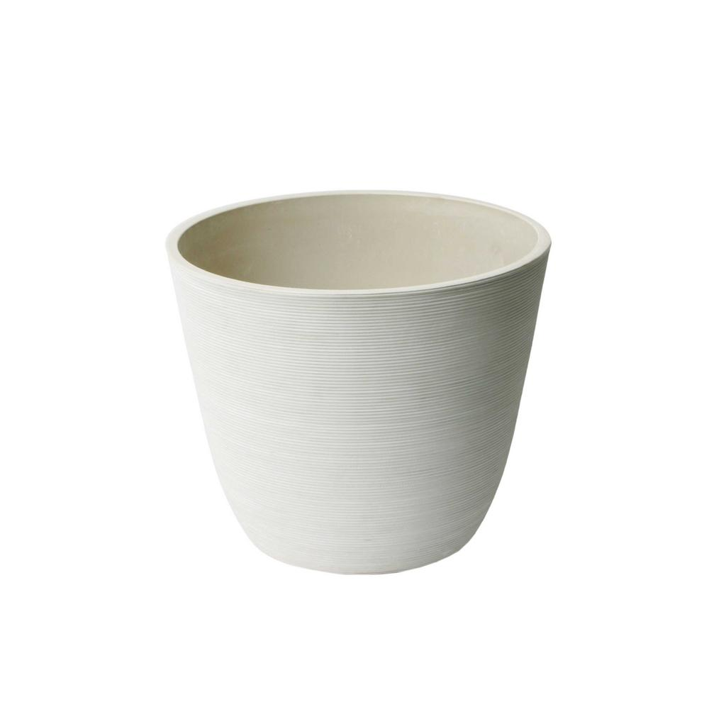 Valencia 11 in x 14 in round curve ribbed white plastic planter round curve ribbed white plastic planter mightylinksfo
