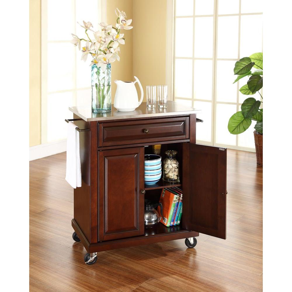 Attrayant Crosley Mahogany Kitchen Cart With Stainless Steel Top