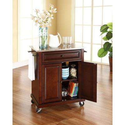 Mahogany Kitchen Cart With Stainless Steel Top