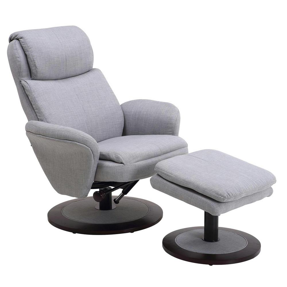 Mac Motion Comfort Chair Light Grey Fabric Swivel Recliner With Ottoman